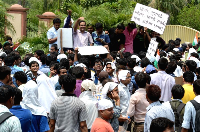Civil service aspirants demonstrate alleging that the changes in the Civil Services examinations were discriminatory for students coming with a Hindi background and other Indian languages in New ...