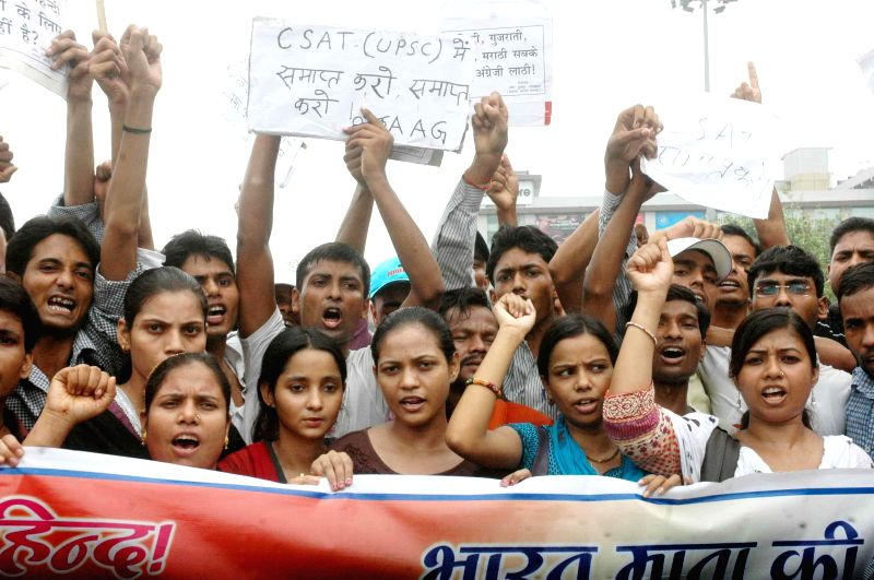 Civil service aspirants demonstrate alleging that the changes in the Civil Services examinations were discriminatory for students coming with a Hindi background and other Indian languages in Patna on