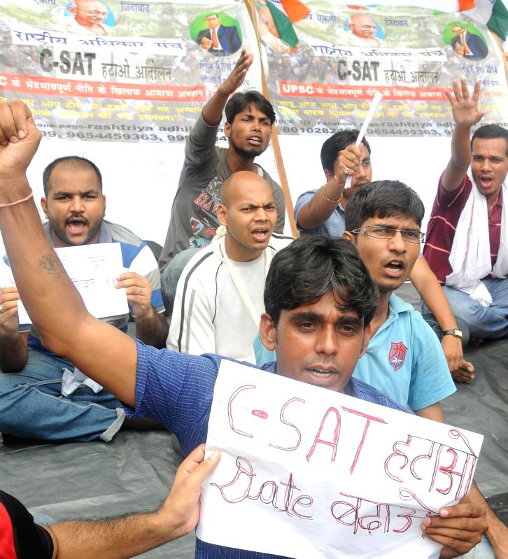 Civil Service aspirants demonstrate to press for scraping of Civil Services Aptitude Test (CSAT) in New Delhi on Aug 5, 2014.