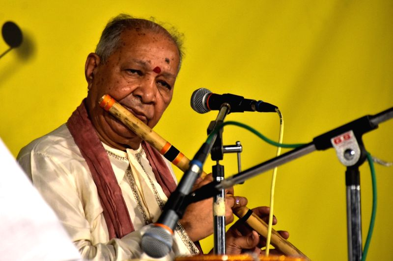 Classical flutist Pandit Hariprasad Chaurasia performs during a programme in Jaipur, on May 4, 2017.