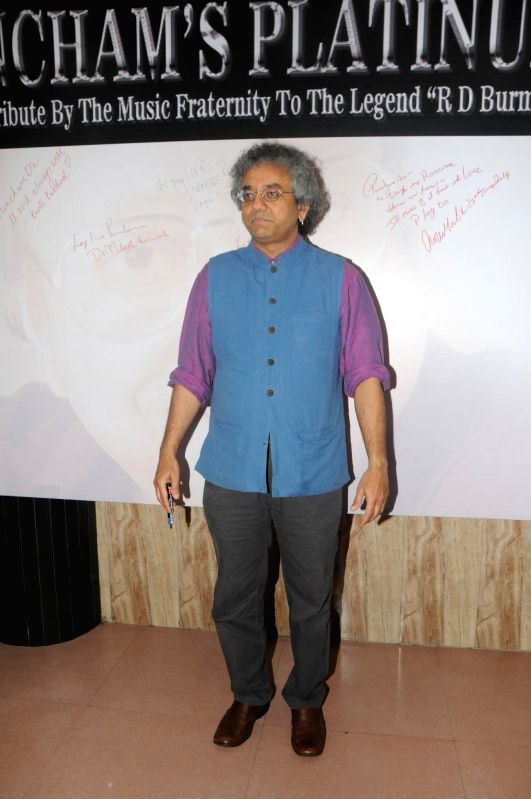 Classical musician Taufiq Qureshi during the celebration of 75th birth anniversary of late music director R D Burman in Mumbai, on June 27, 2014.