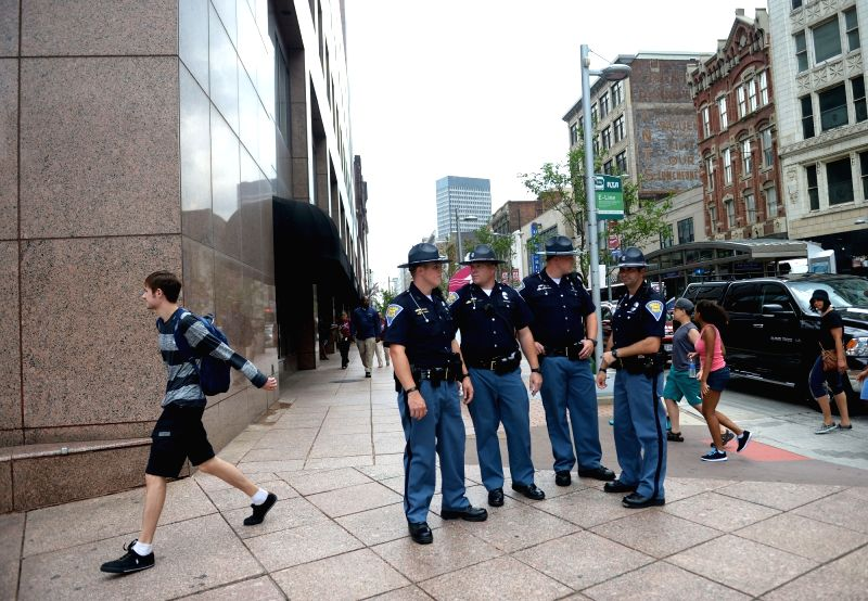 CLEVELAND, July 18, 2016 - Police patrol near the Quicken Loans Arena where the Republican National Convention is held in Cleveland, Ohio, the United States, July 18, 2016.