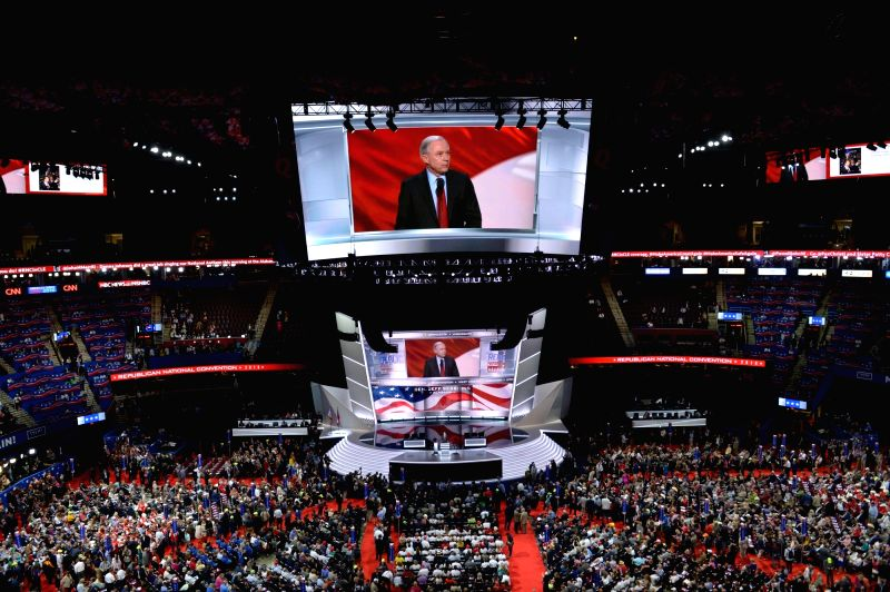 CLEVELAND, July 20, 2016 - Photo taken on July 19, 2016 shows the scene of the Republican National Convention in Cleveland, Ohio, the United States. New York billionaire Donald Trump clinched enough ...