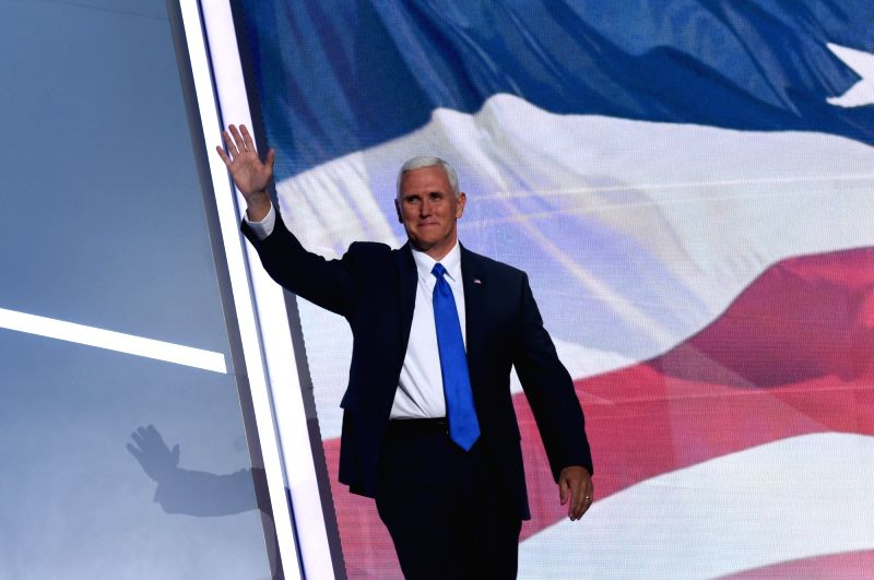 CLEVELAND, July 21, 2016 - Indiana Governor and Republican vice presidential nominee Mike Pence prepares to speak at the Republican National Convention in Cleveland, Ohio, the United States, on July ...