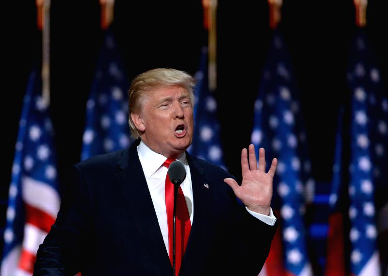 CLEVELAND, July 22, 2016 - Donald Trump speaks on the last day of the Republican National Convention in Cleveland, Ohio, the United States, July 21, 2016. New York billionaire Donald Trump officially ...