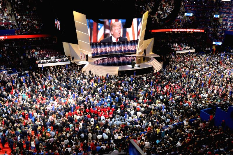 CLEVELAND, July 22, 2016 - Donald Trump takes the stage on the last day of the Republican National Convention in Cleveland, Ohio, the United States, July 21, 2016. New York billionaire Donald Trump ...