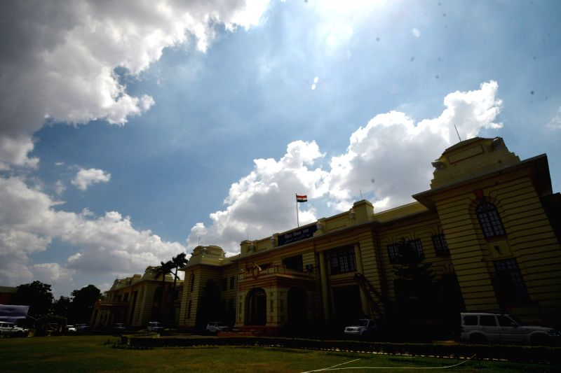 Clouds loom over Bihar Vidhan Sabha, in Patna, on July 19, 2019.