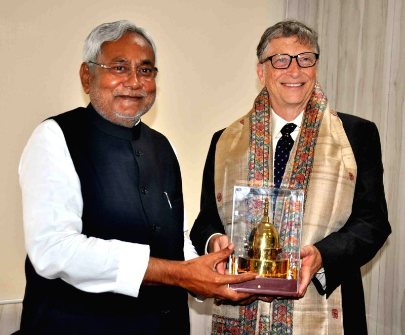 Co-Chair and Trustee of Bill and Melinda Gates Foundation (BMGF) Bill Gates calls on Bihar Chief Minister Nitish Kumar in Patna on Dec. 5, 2015.
