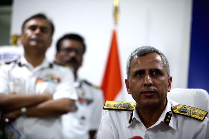 Coast Guard Commander (East) Inspector General Rajan Bargotra addresses during the media briefing regarding missing IAF's AN-32 transport aircraft with 29 people onboard; in Chennai on July ...