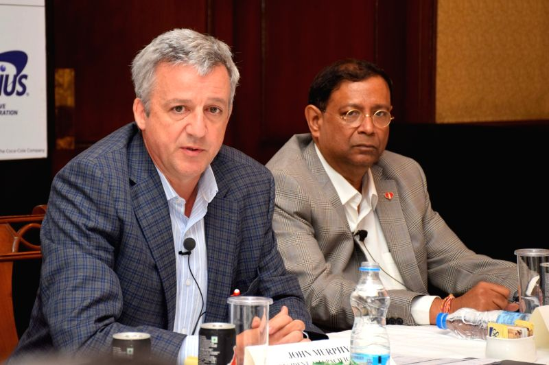 Coca-Cola's Asia Pacific President John Murphy and Coca-Cola India and South West Asia President T Krishnakumar during a press conference in Kolkata on Feb 2, 2018.
