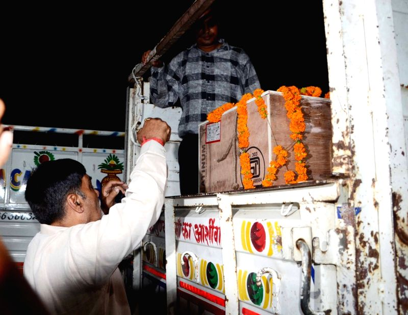 Coffins of Amarnath pilgrims who died in a bus accident being received in Patna Airport on July 17, 2017. Sixteen Amarnath pilgrims were killed and 26 seriously injured when the bus in which ...