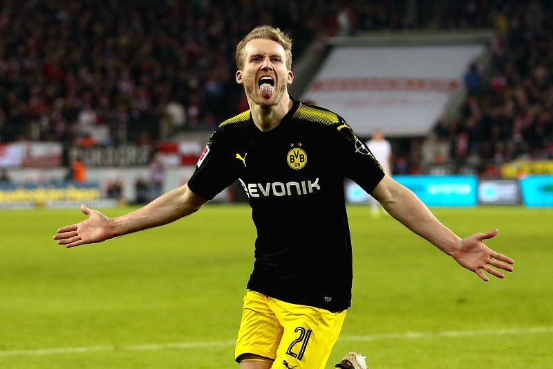 COLOGNE, Feb. 3, 2018 - Dortmund's Andre Schurrle celebrates during the Bundesliga soccer match between FC Cologne vs Borussia Dortmund in Cologne, Germany, Feb. 2, 2018.