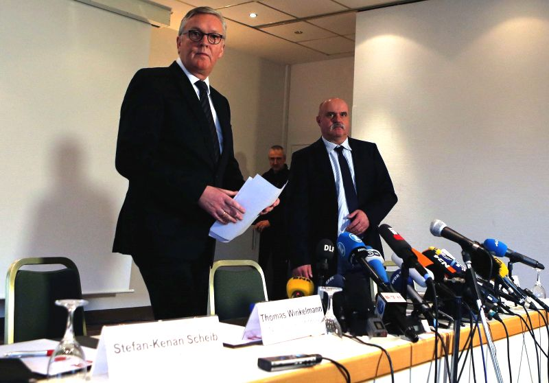 Germanwings CEO Thomas Winkelmann (1st L) attends the press conference over the crashed Germanwings flight 4U9525 in Cologne, Germany, on March 24, 2015. There are ...