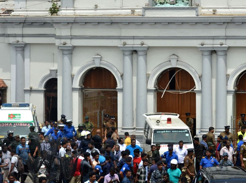 Colombo, April 21, 2019 - People gathered outside the Church of St. Anthony where the explosion occurred in Colombo, Sri Lanka, April 21, 2019. At least 50 people were killed and more than 100 others injured in multiple church and hotel blasts in Sri Lanka, police said on Sunday.