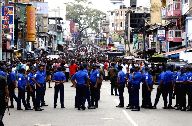 Colombo, April 21, 2019 (Xinhua) --People gathered near the Church of St. Anthony, where the explosion occurred in Colombo, Sri Lanka, April 21, 2019. At least 138 people were killed and more than 500 others injured in multiple church and hotel blast