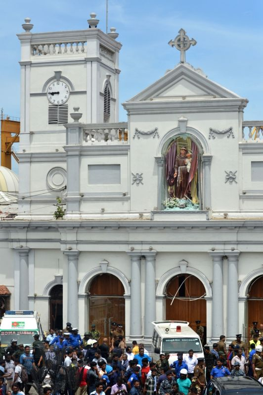 Colombo, April 21, 2019 (Xinhua) -- People gathered outside the Church of St. Anthony where the explosion occurred in Colombo, Sri Lanka, April 21, 2019. At least 50 people were killed and more than 100 others injured in multiple church and hotel bla