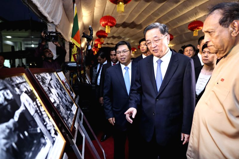 COLOMBO, April 8, 2017 - Yu Zhengsheng (2nd R, front), chairman of the National Committee of the Chinese People's Political Consultative Conference (CPPCC), attends the reception marking the 60th ... - Karu Jayasuriya
