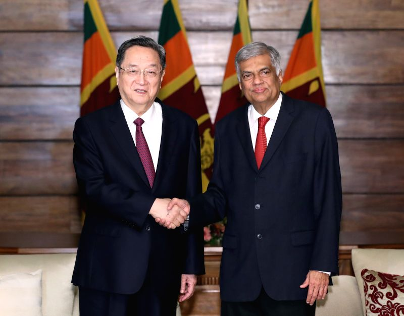 COLOMBO, April 8, 2017 - Yu Zhengsheng (L), chairman of the National Committee of the Chinese People's Political Consultative Conference (CPPCC), meets with Sri Lankan Prime Minister Ranil ... - Ranil Wickremesingh