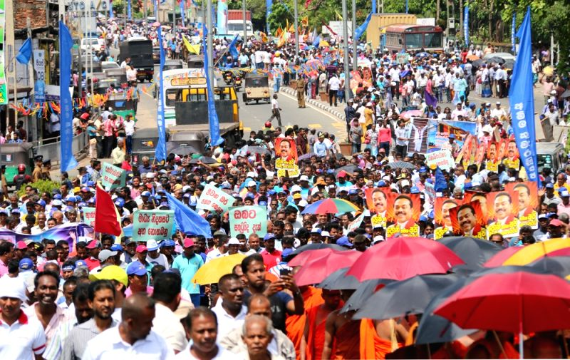 COLOMBO, Aug. 2, 2016 - Opposition political parties and supporters of former Sri Lankan President Mahinda Rajapaksa attend a rally in Colombo, Sri Lanka, Aug. 1, 2016. Opposition political parties ...