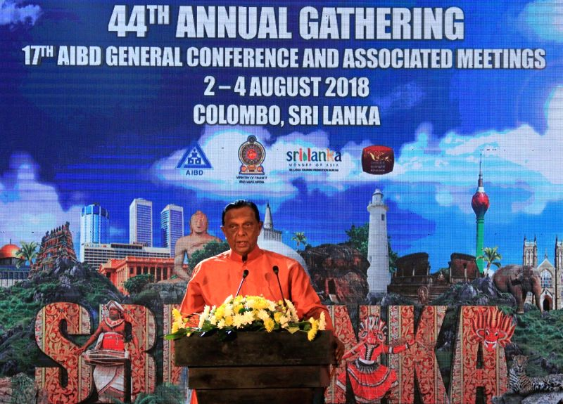COLOMBO, Aug. 4, 2018 - Sri Lankan Tourism Minister John Amaratunga addresses the Asia-Pacific Institute for Broadcasting Development (AIDB) General Conference in Colombo, Sri Lanka, Aug. 2, 2018. - John Amaratunga