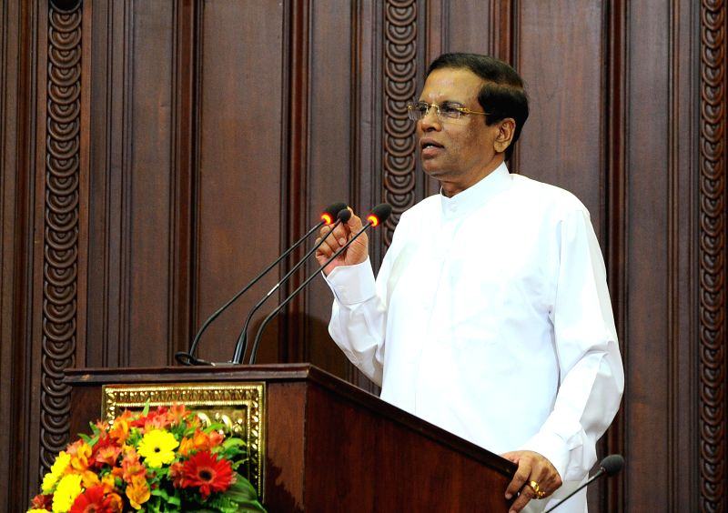 Sri Lanka's newly-elected President Maithripala Sirisena speaks after swearing-in of the new Cabinet in Colombo, capital of Sri Lanka, Jan. 12, 2015. Sri Lanka's ...