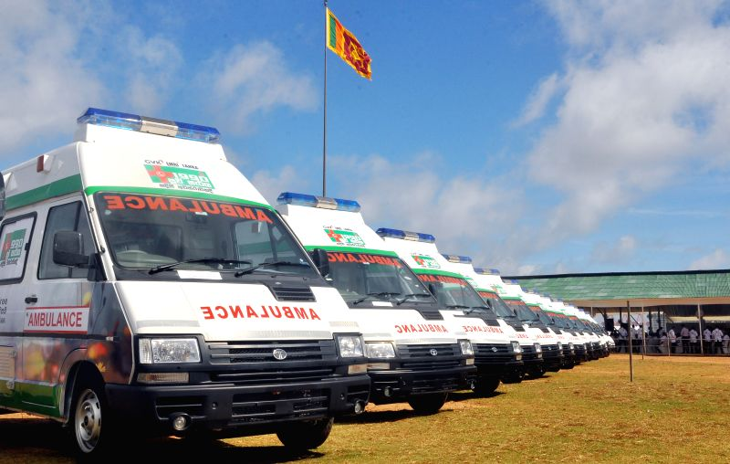 COLOMBO, July 28, 2016 - Photo taken on July 28, 2016 shows the emergency ambulances in Colombo, capital of Sri Lanka. The emergency ambulance service set up with the assistance from the Government ...