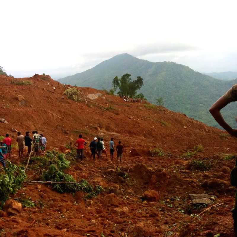 COLOMBO, May 18, 2016 - Local villagers search for survivors in Kegalle District, Sri Lanka, May 18, 2016. The death toll from a landslide in Sri Lanka's Kegalle District has risen to 13 as rescue ...