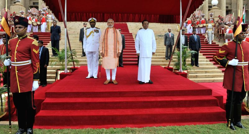 Prime Minister Narendra Modi at the ceremonial reception, in Colombo, Sri Lanka on March 13, 2015. Also seen Democratic Socialist Republic of Sri Lanka President Maithripala Sirisena. - Narendra Modi