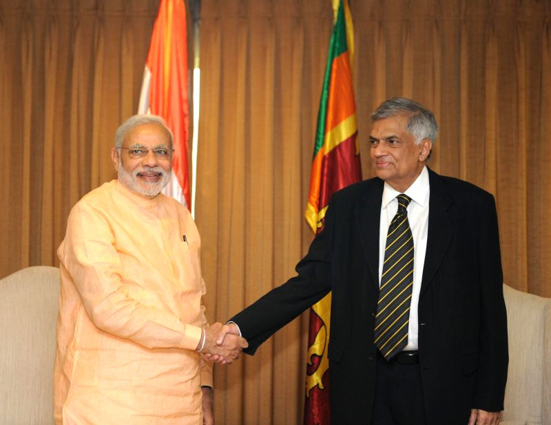 Prime Minister Narendra Modi calls on the Sri Lanka Prime Minister Ranil Wickremesinghe in Colombo, Sri Lanka on March 13, 2015. - Narendra Modi
