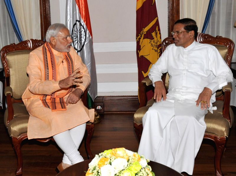 Prime Minister Narendra Modi One-on-One talks with the Democratic Socialist Republic of Sri Lanka President Maithripala Sirisena in Colombo, Sri Lanka on March 13, 2015. - Narendra Modi One