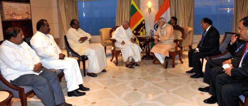 Tamil National Alliance leaders meets the Prime Minister Narendra Modi, in Colombo, Sri Lanka on March 13, 2015. - Narendra Modi