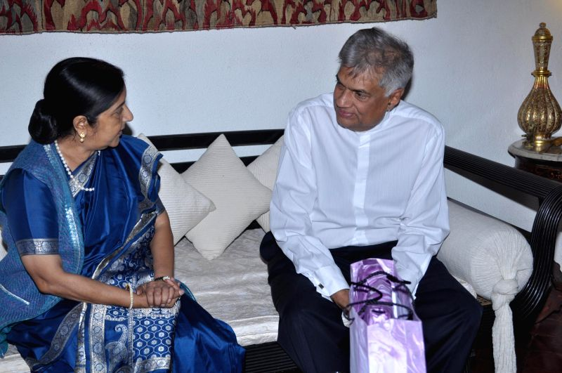 Union External Affairs Minister Sushma Swaraj calls on Sri Lankan Prime Minister Ranil Wickremesinghe  in Colombo, Sri Lanka on March 7, 2015.