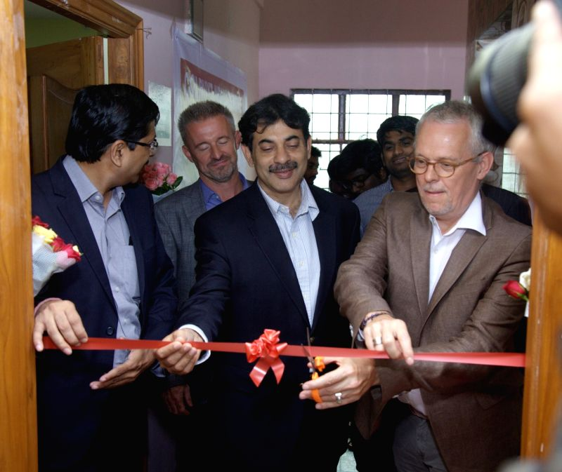 Colruyt Group Global CEO Jef Colruyt and Telangana IT Secretary Jayesh Ranjan during the inauguration of NDLM Centre (First Digital Literacy Centre) in Hyderabad on July 27, 2016.