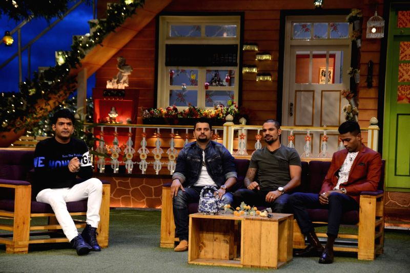 Comedian Kapil Sharma, Indian cricket players Suresh Raina, Shikhar Dhawan and Hardik Pandya on the sets of The Kapil Sharma Show in Mumbai,on May 23, 2017. - Shikhar Dhawan and Kapil Sharma