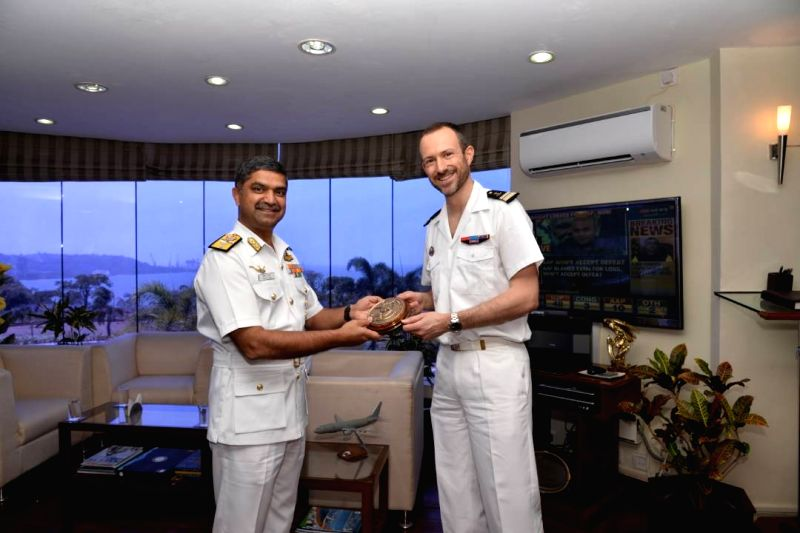 Commander Louis Tillier, Commanding Officer French Naval Ship Dupuy de Lome calls on Rear Admiral Puneet K Bahl, VSM, the Flag Officer Commanding Goa Naval Area and discussed various bilateral ...