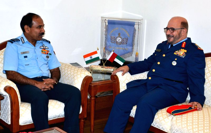 Commander of UAE Air Force & Air Defence Major General Staff Pilot Ibrahim Nasser M Al Alawi calls on Chairman of the Chiefs of Staff Committee (COSC) and Chief of the Air Staff, Air Chief ...