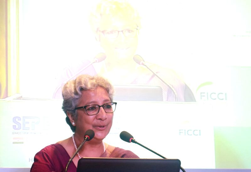 "Commerce Secretary Rita Teaotia addresses during the launch of ""Advantage Healthcare India 2017"" in New Delhi on Aug 11, 2017."
