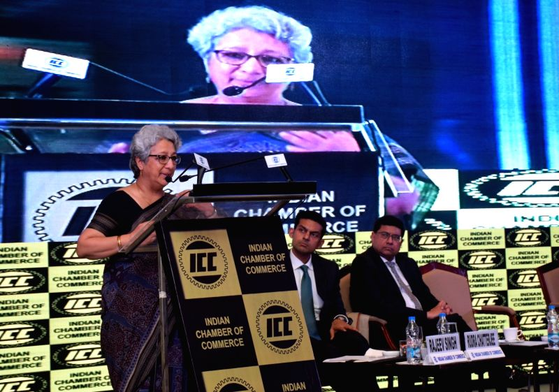 Commerce Secretary Rita Teaotia addresses during a Special Interactive Session organised by Indian Chamber Of Commerce in Kolkata on July 19, 2018.