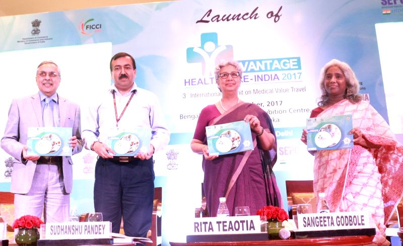 "Commerce Secretary Rita Teaotia during the launch of ""Advantage Healthcare India 2017"" in New Delhi on Aug 11, 2017."