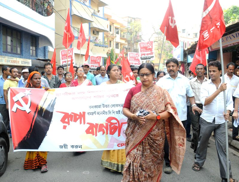 Communist Party of India-Marxist (CPI-M) candidate for 2014 Lok Sabha Election from North Kolkata parliamentary constituency, Rupa Bagchi during an election campaign in Kolkata on April 20, 2014.