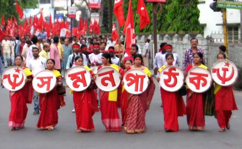 Communist Party of India-Marxist (CPI-M) workers during a rally in Siliguri on April 14, 2014.