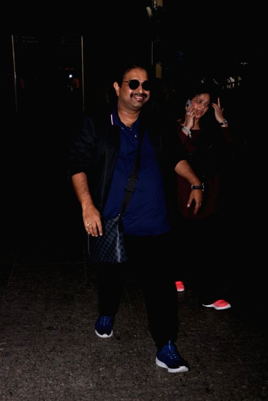 Composer Shankar Mahadevan With Family Spotted At Airport in Mumbai, on May 26, 2017.