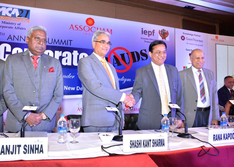 Comptroller and Auditor General of India Shashi Kant Sharma releases ASSOCHAM-Grant Thornton study paper titled 'Fraud: A key Governance Risk' along-with Vigilance Commissioner J M Garg, Assocham ... - Shashi Kant Sharma and Ranjit Sinha