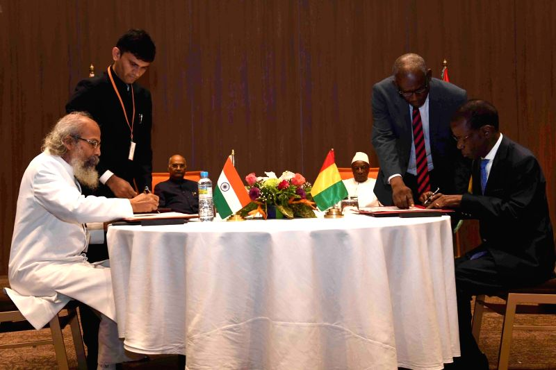 Conakry: Union Animal Husbandry, Dairying and Fisheries and Micro, Small and Medium Enterprises Minister Pratap Chandra Sarangi during the signing of bilateral agreements between India and Guinea, in Conakry on Aug 2, 2019. (Photo: IANS/RB)
