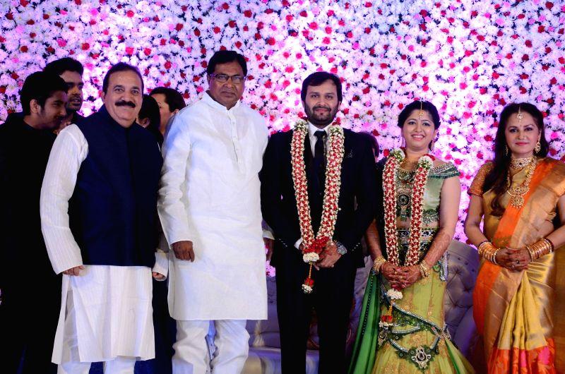 Cong(I) MLA Janareddy during the wedding reception of actress Jayaprada`s son Siddharth with Pravallika Reddy in Hyderabad. - Pravallika Reddy