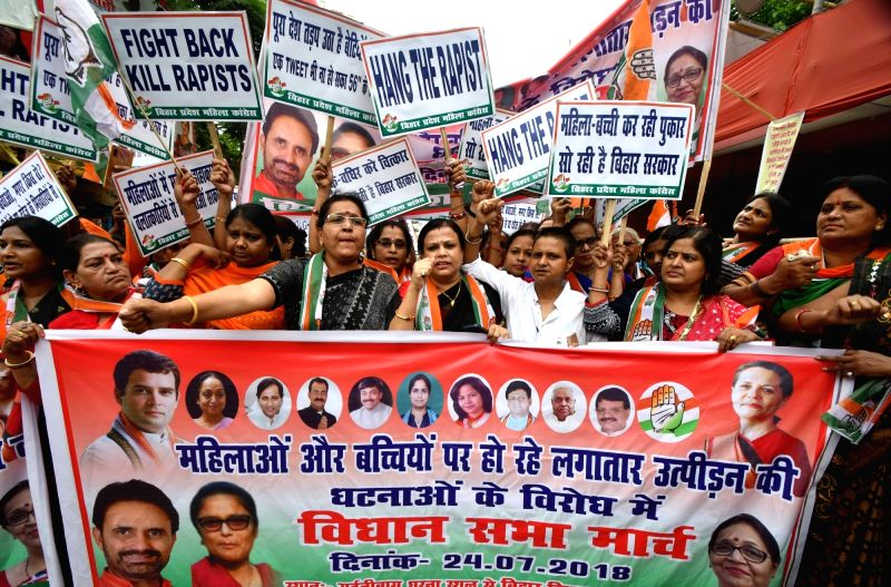 Congress activists stage a demonstration against increasing incidents of violence against women; in Patna on July 24, 2018.
