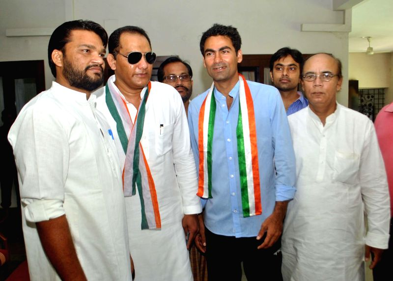 Congress candidate for 2014 General Elections from Sawai Modhopur (Rajasthan), former cricketer Mohammad Azharuddin campaigns for party's candidate for 2014 Lok Sabha Election from Phulpur Lok Sabha .