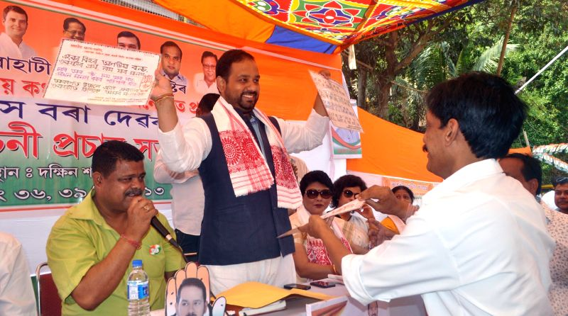 Congress candidate for 2014 Lok Sabha Election from Guwahati, Manash Bora during an election campaign at Ulubari in Guwahati on April 13, 2014.