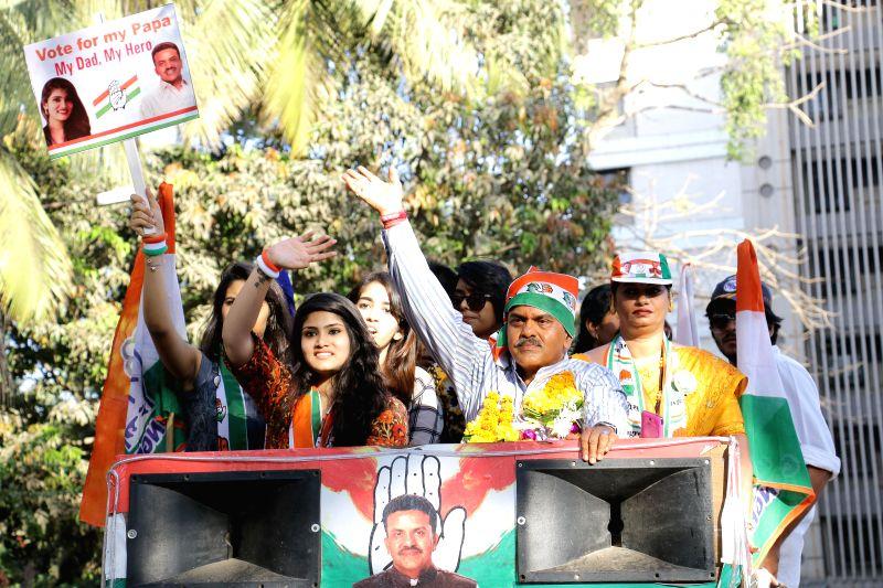 Congress candidate for 2014 Lok Sabha Election from Mumbai North, Sanjay Nirupam during an election rally in Mumbai on April 15, 2014.
