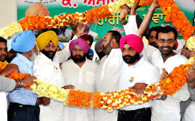 Congress candidate for 2014 Lok Sabha Election from Amritsar, Captain Amarinder Singh during an election campaign in Amritsar on April 17, 2014.